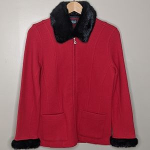 Alexandra Bartlett Wool Jacket w/ Faux Fur Collar